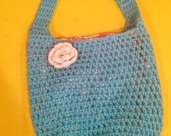 Crocheted Tote Bag with Lining