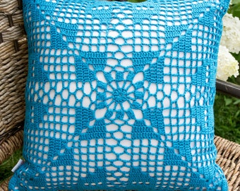 "Cushion ""Marine-blue squares"""