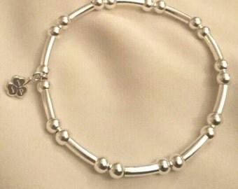 Sterling Silver Tube & Bead Bracelet