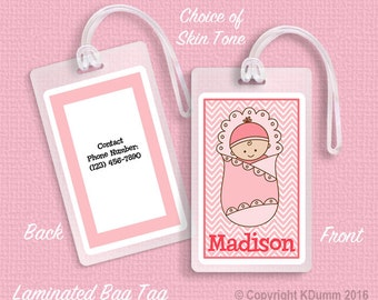 Personalized Diaper Bag Tag Laminated Bag Tags Baby Shower Gift Girl