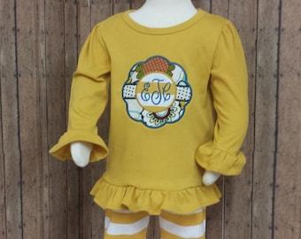 Girls fall mustard outfit