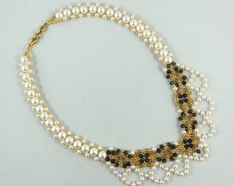 Swarovski Crystals and Pearls V Necklace