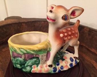 Vintage Baby Fawn Deer Planter   Made in Japan