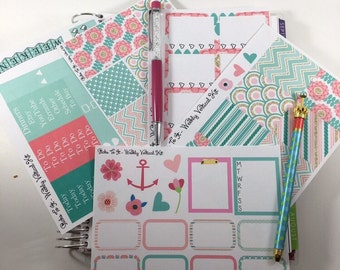 Pink and Mint ECLP Weekly Kit Mambi Happy Planner Stickers chevron scallops coral floral