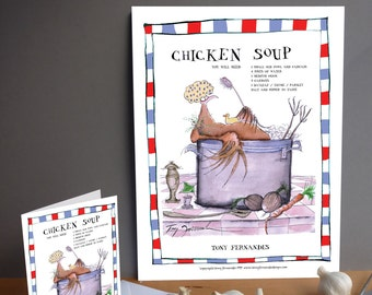 Fun Chicken Soup Recipe Kitchen Print and greeting card