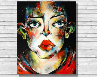 Canvas stretched representing an androgynous 50 x 61 cm