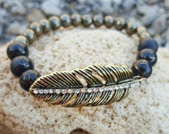 Rhinestone feather beaded bracelet