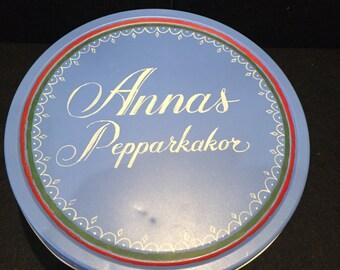 Annas Pepparkakor Blue Cookie Tin from Sweden