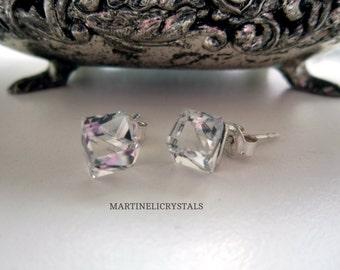 Clear Crystal Cube Swarovski Diamond Clear Swarovski Clear Crystal Stud Swarovski Cube Transparent Crystal Diamond Clear  Diamond Crystal