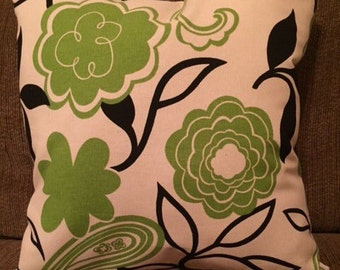 Green and Cream Floral Pattern Throw Pillow
