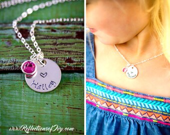 SALE • Personalized Girls Necklace • Heart Jewelry • Stamped Sterling Silver Little Girls Gift • Small Child Birthday Gift•Childs Birthstone