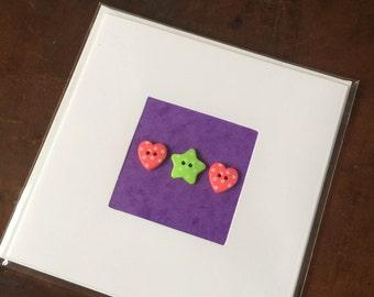 Blank Hand-Made Card - 'Star And Hearts' - Greeting Card, Birthday Card
