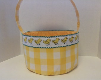 Fabric Easter Basket With Cross Stitched Chicks on Yellow Gingham
