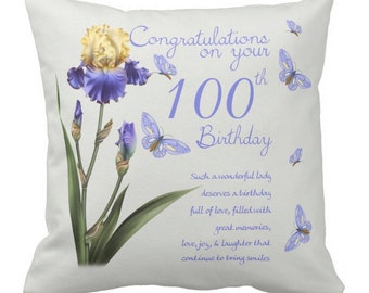 50 - 100th Birthday, Throw Pillow with insert, 100% British made cushion cover with Hotel Quality Inner