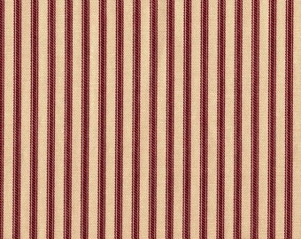 "30"" Curtain Tailored Tiers, Crimson Red Ticking Stripe, Lined"
