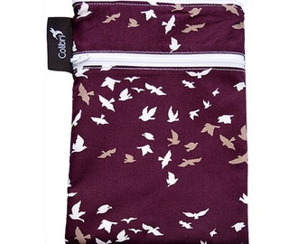 Ready to ship Mini Wet Dry Bag with 2 zippers and PUL liner - Birds
