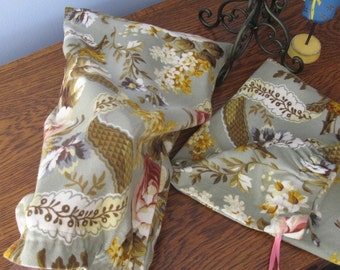 Handmade Flannel Shoe Bags - Sage Floral - Set of 2
