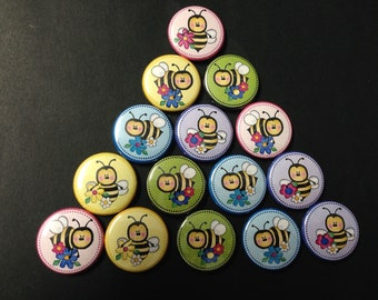 Bumble Bee Themed Buttons  Set of 15