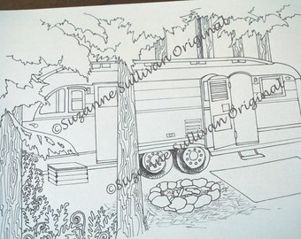 Camping Coloring Pages, Set of 5 Coloring Pages, Vintage Camping Coloring Pages, Adult Coloring Pages, Relaxing Coloring, Camping Project