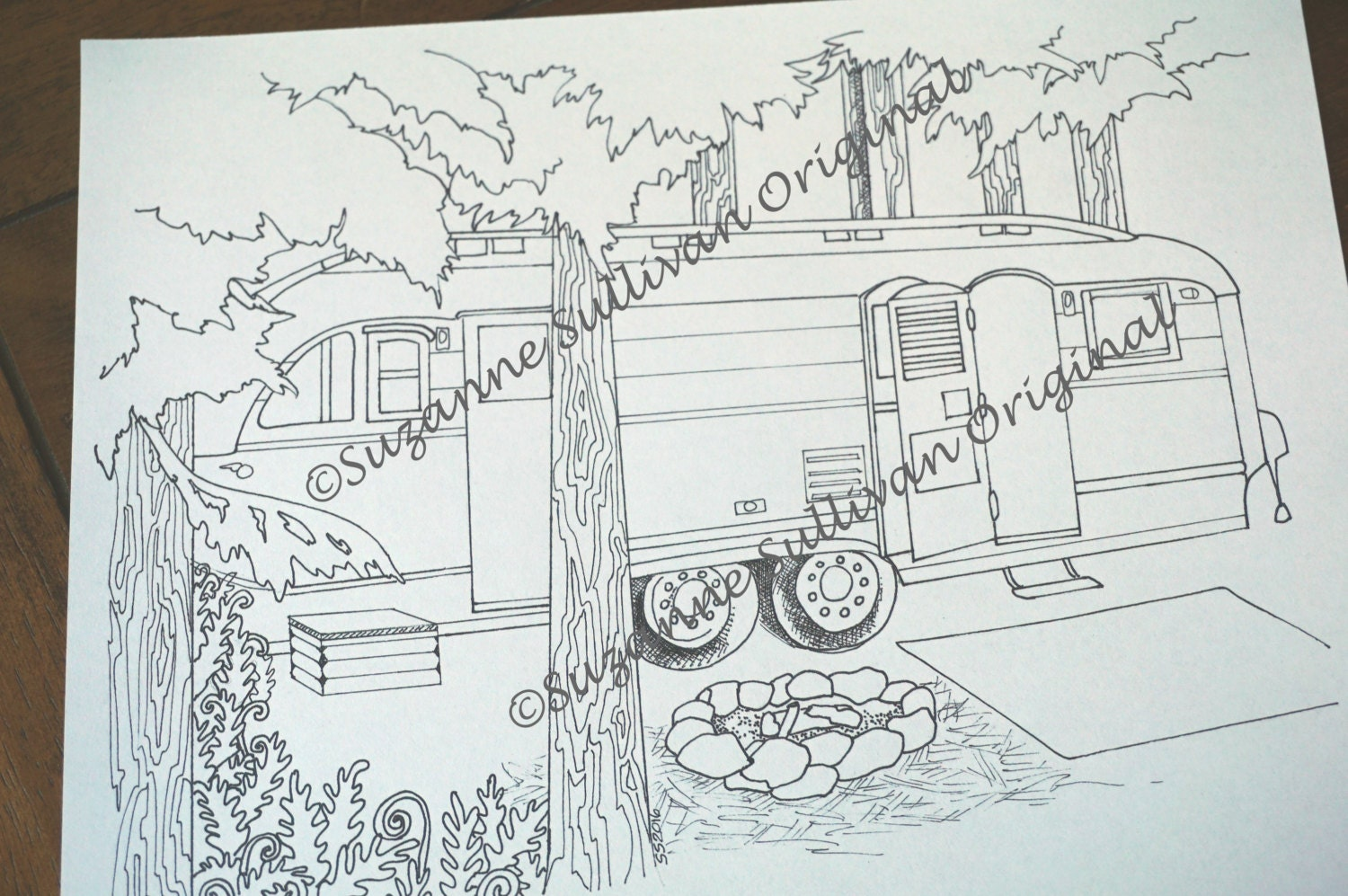 camping coloring pages set of 5 coloring pages vintage