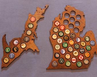 Michigan Craft Beer Cap Map, Gifts for Him, Honey Brown finish