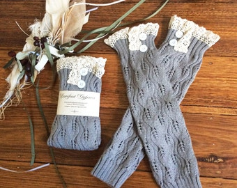 Soft and warm pair of knit arm warmers or leg warmers fingerless gloves