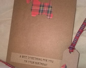 """Tartan Scottie Dog """"Wee Something for You"""" Birthday Card and Gift Tag Set"""