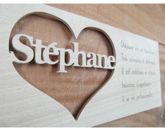 Massive wood Stephane doorplate , placed in a heart with an original definition of the name, an unique decoration or gift.