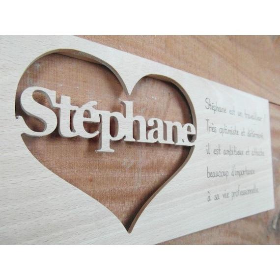 Plaque prénom Stéphane, motif cœur, avec gravure sur bois dune  ~ Gravure Prenom Sur Bois