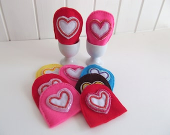 Kitchen accessories - felt - colourful egg cosies - egg cozy - egg warmer - dining heart - kitchen love - sweetheart gift