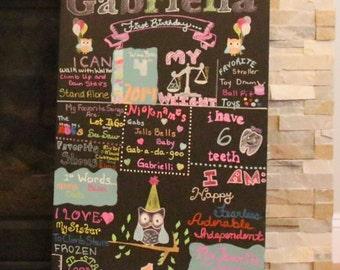 Custom Owl Birthday ChalkBoard