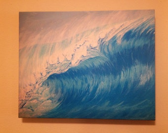 Blue Ocean Wave Painting on Canvas