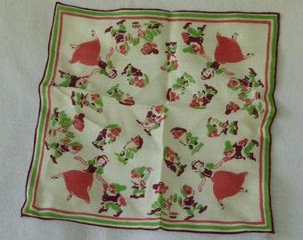 "Vintage Linen Handkerchief, Disneyania ""Snow White and the Seven Dwarfs"", late 1930's"
