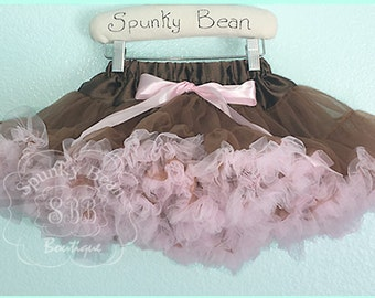 Deluxe Baby Tutu, pink and brown EXTRA Full Premium pettiskirt, Petticoat, Princess petti skirt, photographer props, baby's 1st birthday