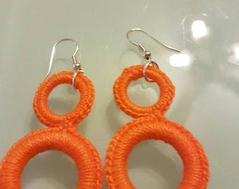 Hand made crochet circles earrings