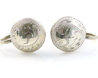 Antique Victorian Silver dome screwback earrings
