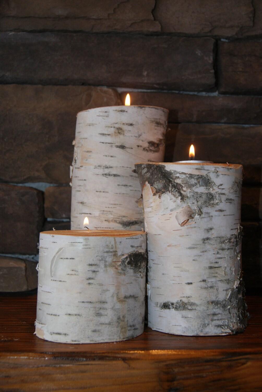 Large birch log tea light candle holder 3 piece for Log candle holder how to make