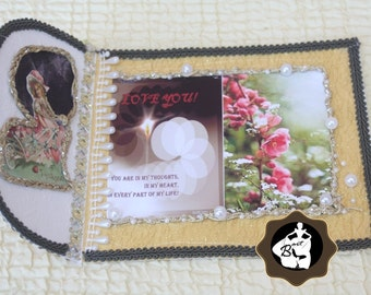 Love You Card, Overall decorated with pearl and lace, folded, handmade card, Love sentiments charming card, superior design, with envelope