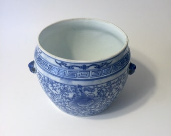 Blue and white chinoiserie plant pot