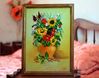 "The painting ""Sunflowers"" flowers in a vase. Embroidered silk and satin ribbons."