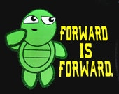 Size Medium - READY to SHIP Forward is Forward.  Fun glitter turtle running shirt - black Danskin fitted tank