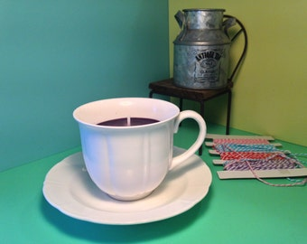 Stunning white cup & saucer soy wax candle