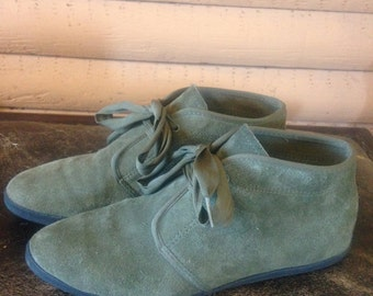 Vintage Suede Ankle Boots Keds Olive Green Womens//7.5M US//5 UK//38 EU