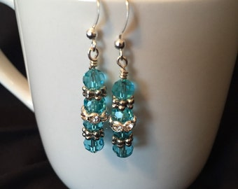 Glass and rhinestone with metal accent earrings