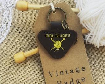Knitters keyring. Gift for knitter. Knitting present. Brownie badge keyfob. Vintage, upcycled bag charm.