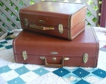 Vintage Taperlite Sardis Luggage set, Two Brown Hard-shell Suitcases, Sateen-like Inside Liner, 22x15x8 inches and 16.5x11x7.5 inches