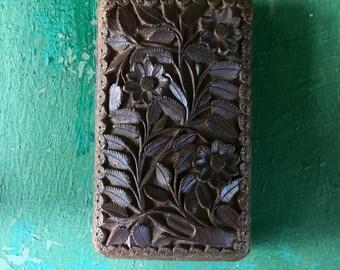 Beautiful vintage teakwood box handcarved in India