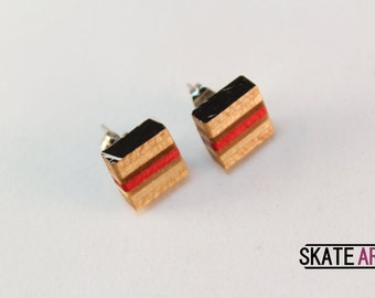 Pendientes botón skate & acero
