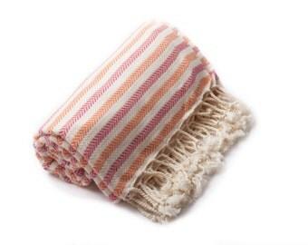 Turkish Towel, Peshtemal Towel, Peshtemal, Beach Towel, Bath Towel, Spa/Yoga/Pool/Park, Tablecloth, Striped, Pink,Orange,  Cotton Towel