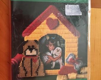 Plastic Canvas Needlepoint fun frame Kit   LOVE MY DOG by: Bucilla